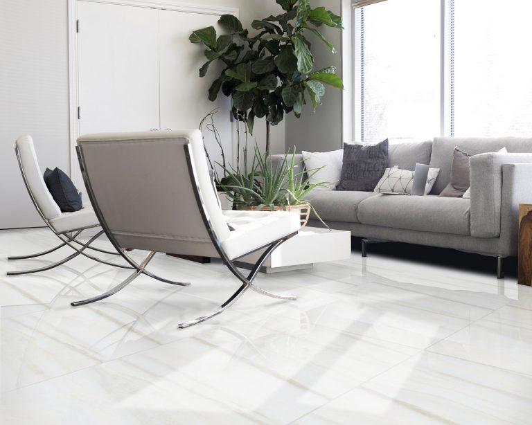 gạch ốp lát cho nhà tối giản màu trắng mờ