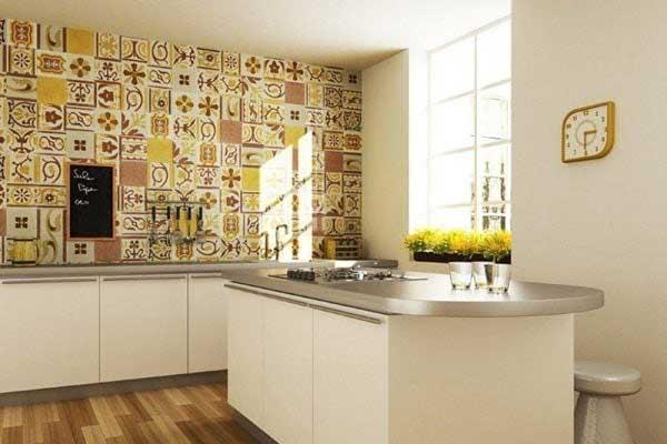 gạch ốp bếp màu vàng